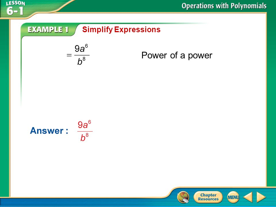 Example 1 Simplify Expressions Power of a power