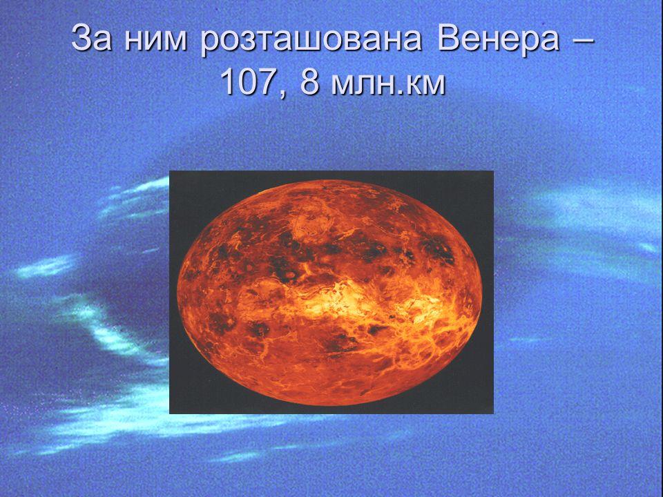 За ним розташована Венера – 107, 8 млн.км