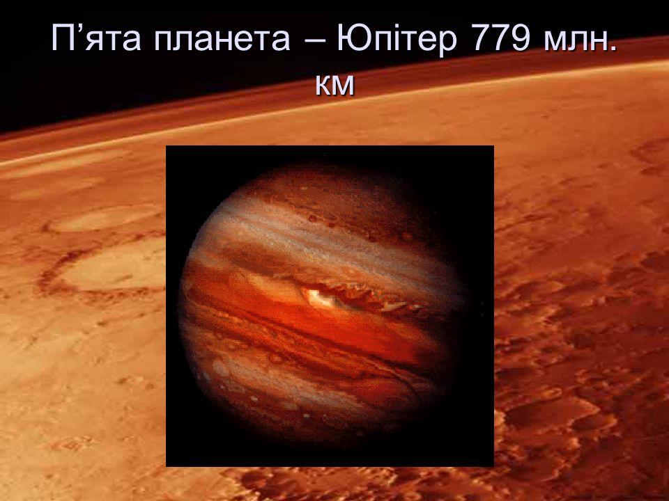 П'ята планета – Юпітер 779 млн. км