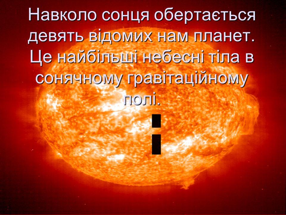 Навколо сонця обертається девять відомих нам планет.