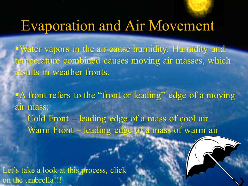 Evaporation and Air Movement Let's take a look at this process, click on the umbrella!!.