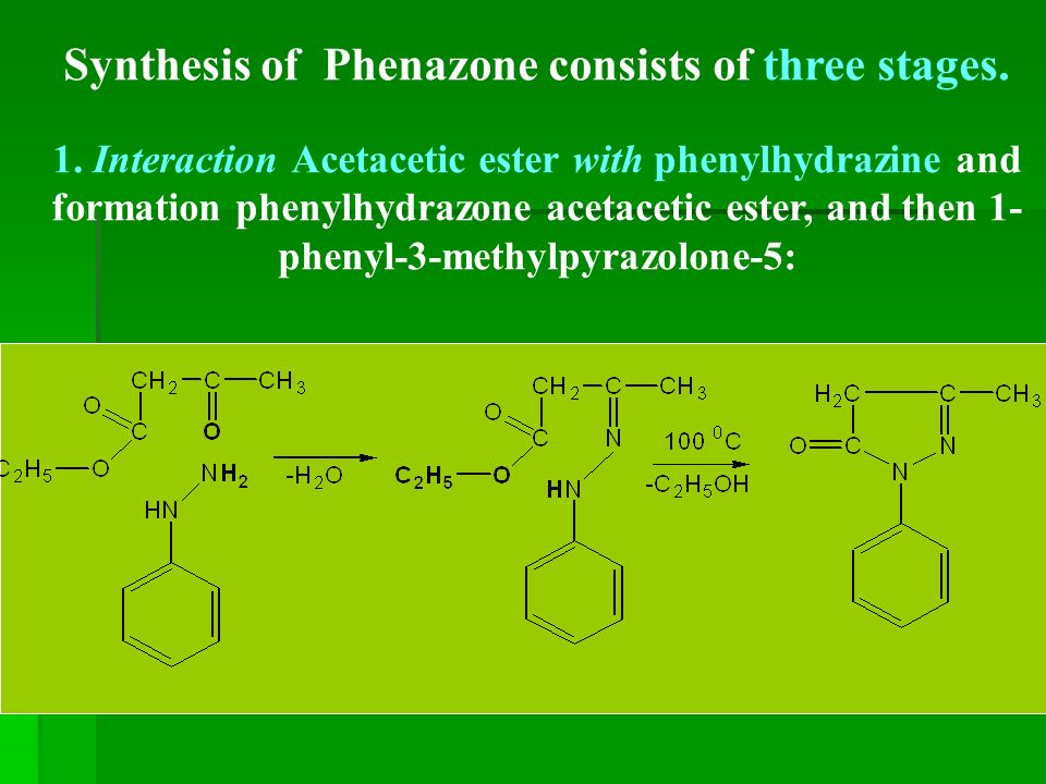 Synthesis of Phenazone consists of three stages. 1.