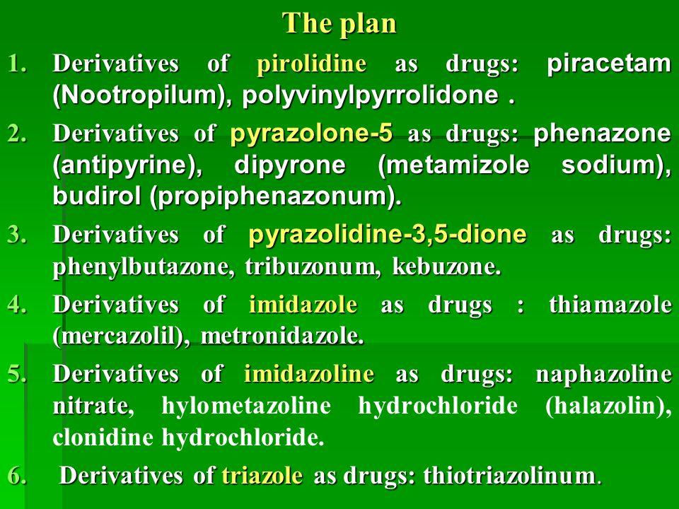 The plan 1.Derivatives of pirolidine as drugs: piracetam (Nootropilum), polyvinylpyrrolidone.