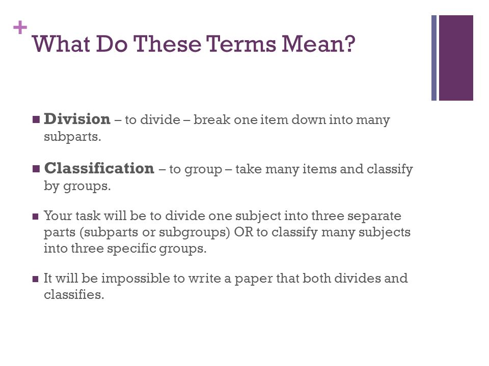the division or classification essay catherine wishart senior  division to divide break one item down