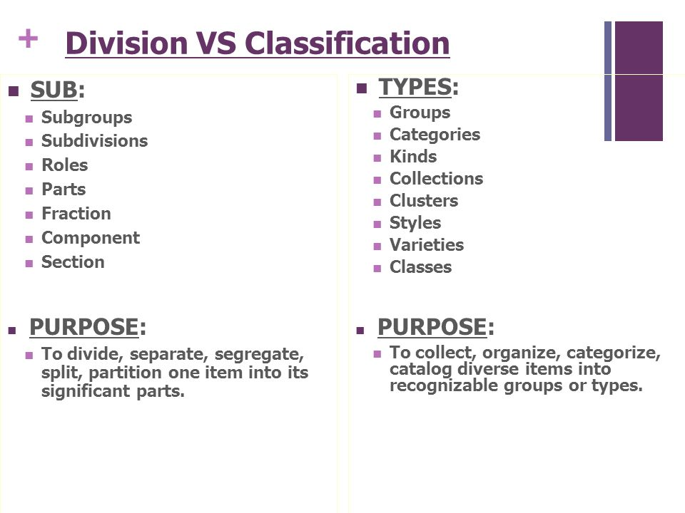 the division or classification essay catherine wishart senior   division vs classification sub subgroups subdivisions roles parts fraction component section purpose to