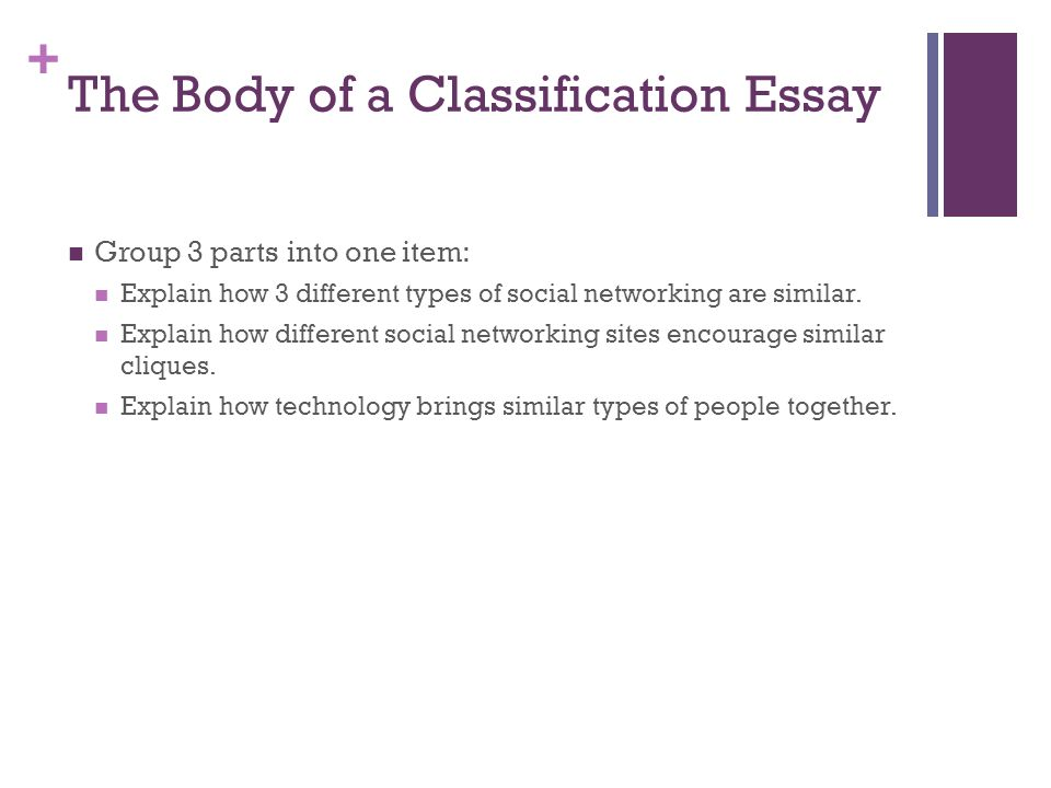 the division or classification essay catherine wishart senior   the body of a classification essay group 3 parts into one item explain how