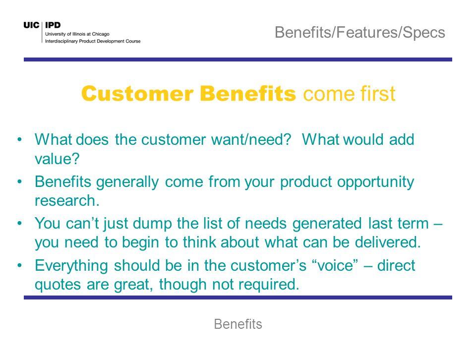 Benefits/Features/Specs Benefits, Features, Specs Benefits, Features ...