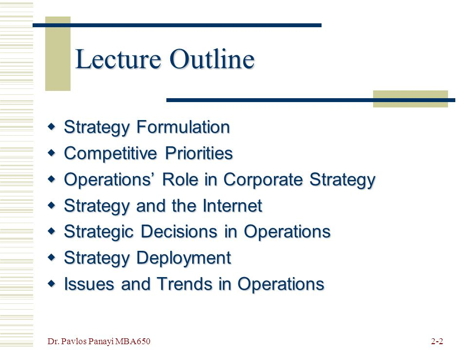 strategic operational issues