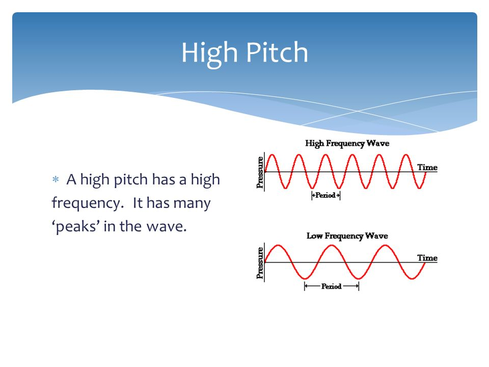  The highness or lowness of a sound is known as the pitch. Pitch