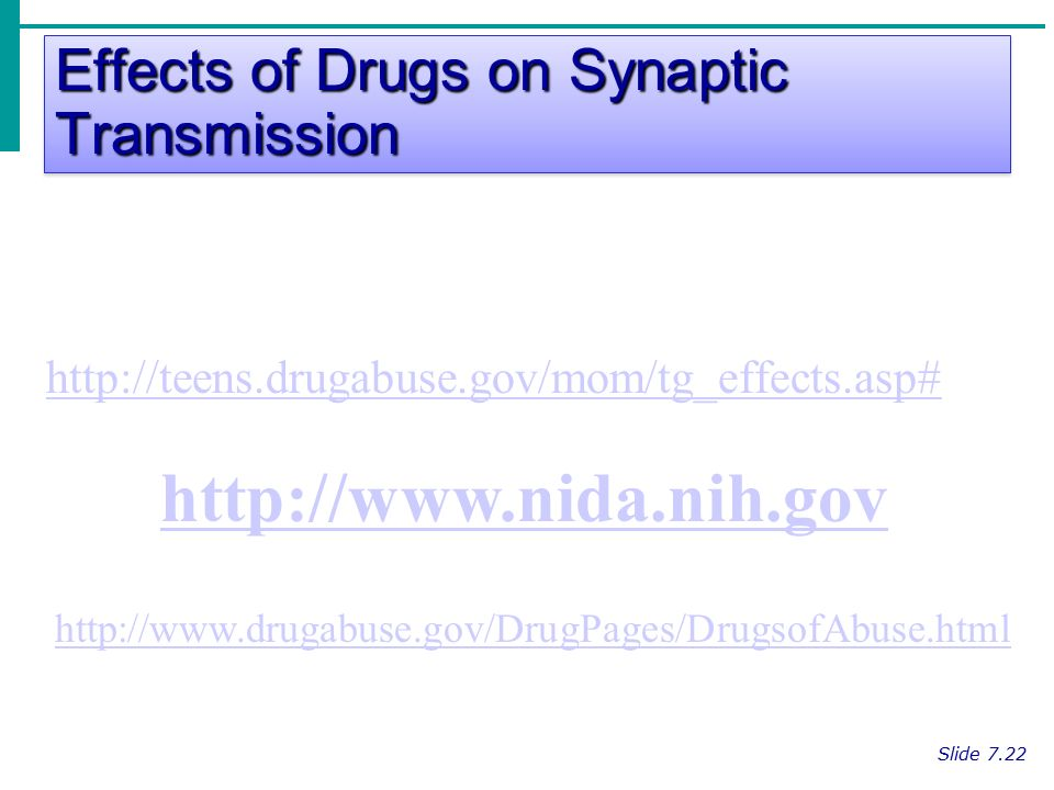 Effects of Drugs on Synaptic Transmission Slide