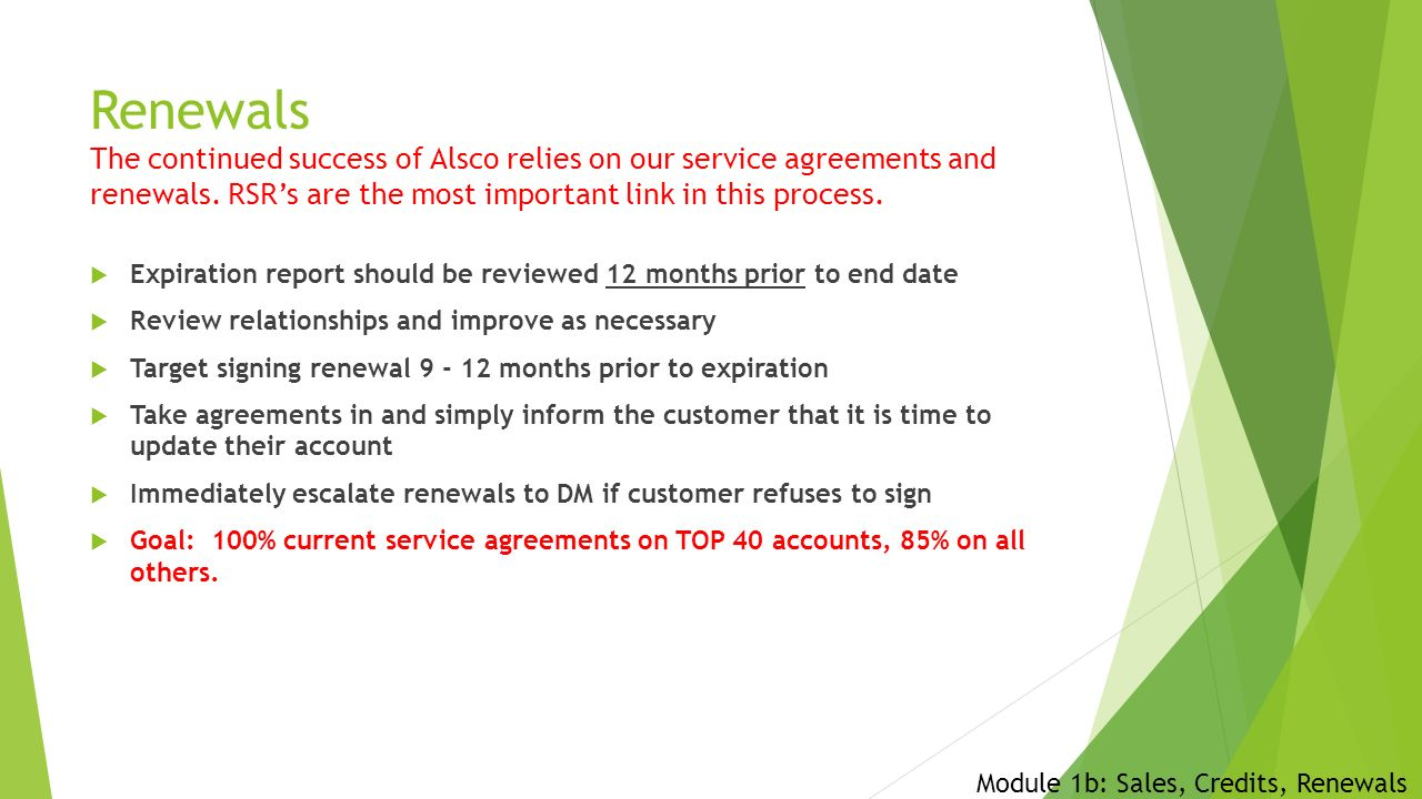 Welcome to alsco module 1b sales credits renewals ppt download renewals the continued success of alsco relies on our service agreements and renewals platinumwayz