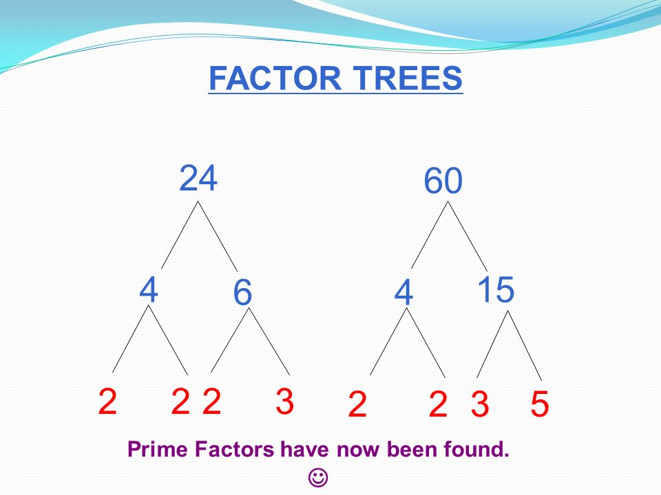 Chapter do you remember the definition of prime number factor 5 find the gcf and lcm of 24 and 60 use a factor tree to help you find the prime factors then a venn diagram to help you find the gcf and lcm ccuart Image collections