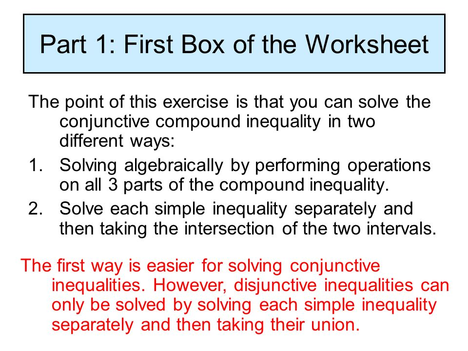 16 Solving Compound Inequalities Understanding that conjunctive – Compound Inequalities Worksheet