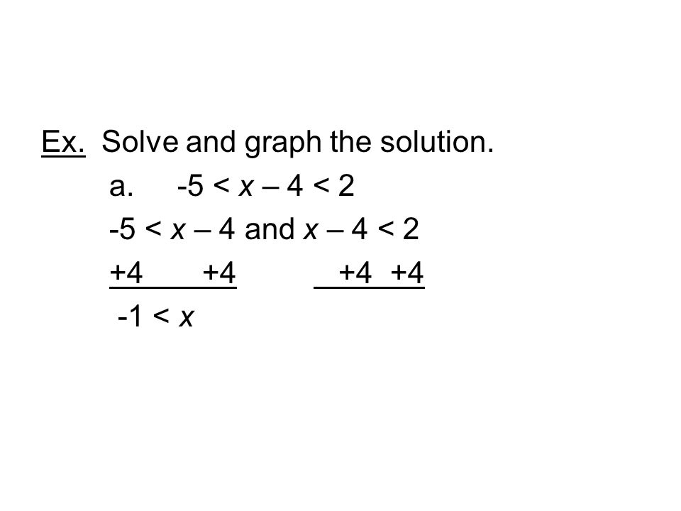 Ex. Solve and graph the solution. a. -5 < x – 4 < 2 -5 < x – 4 and x – 4 < < x