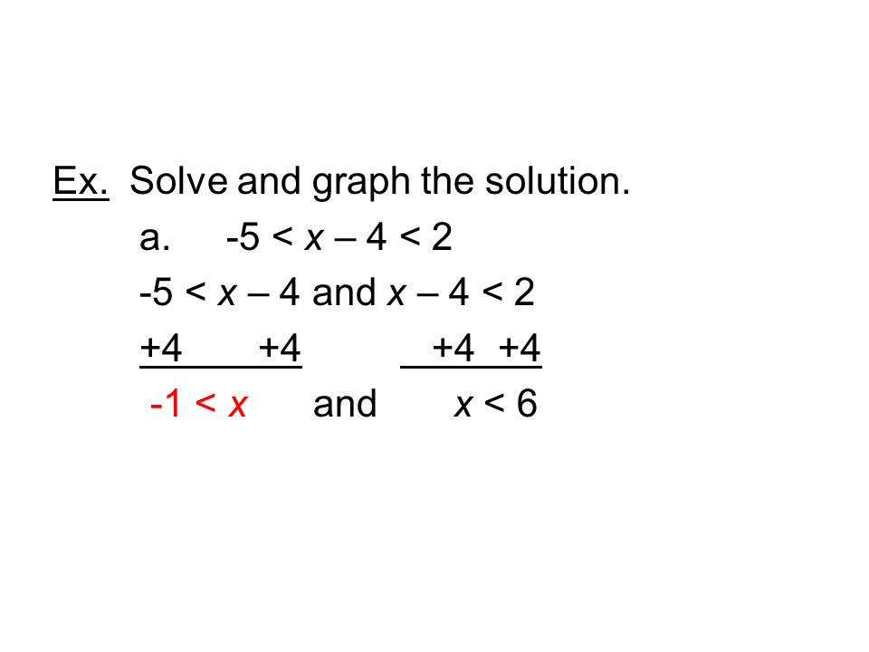 Ex. Solve and graph the solution. a. -5 < x – 4 < 2 -5 < x – 4 and x – 4 < < x and x < 6