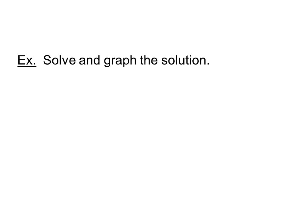 Ex. Solve and graph the solution.