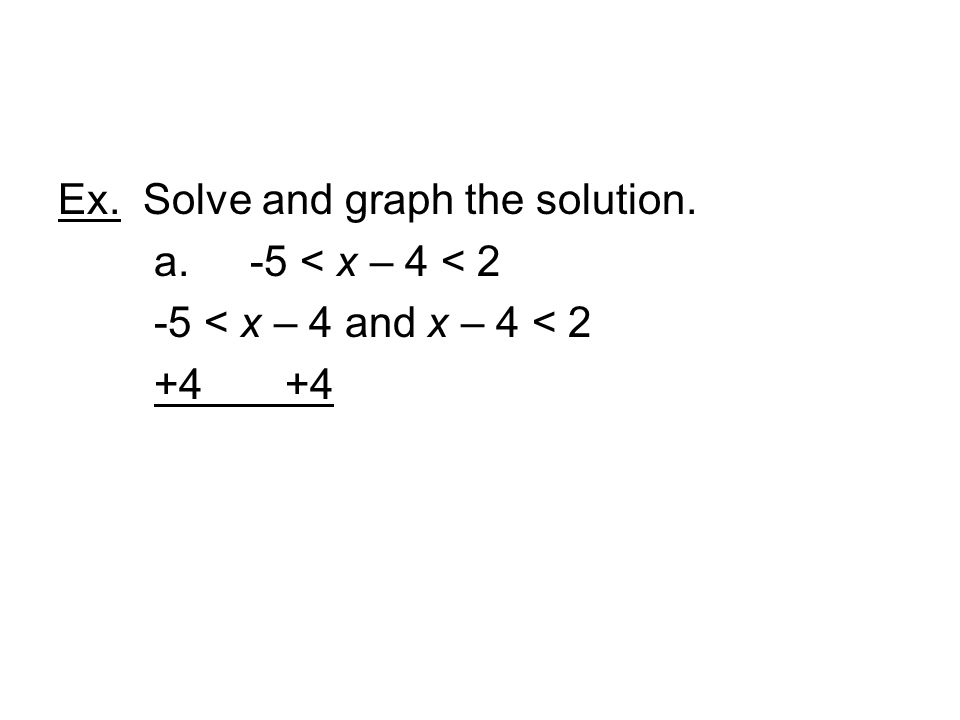Ex. Solve and graph the solution. a. -5 < x – 4 < 2 -5 < x – 4 and x – 4 < 2 +4