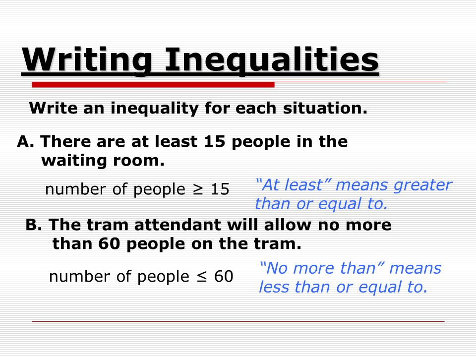 Write an inequality for each situation. A. There are at least 15 people in the waiting room.