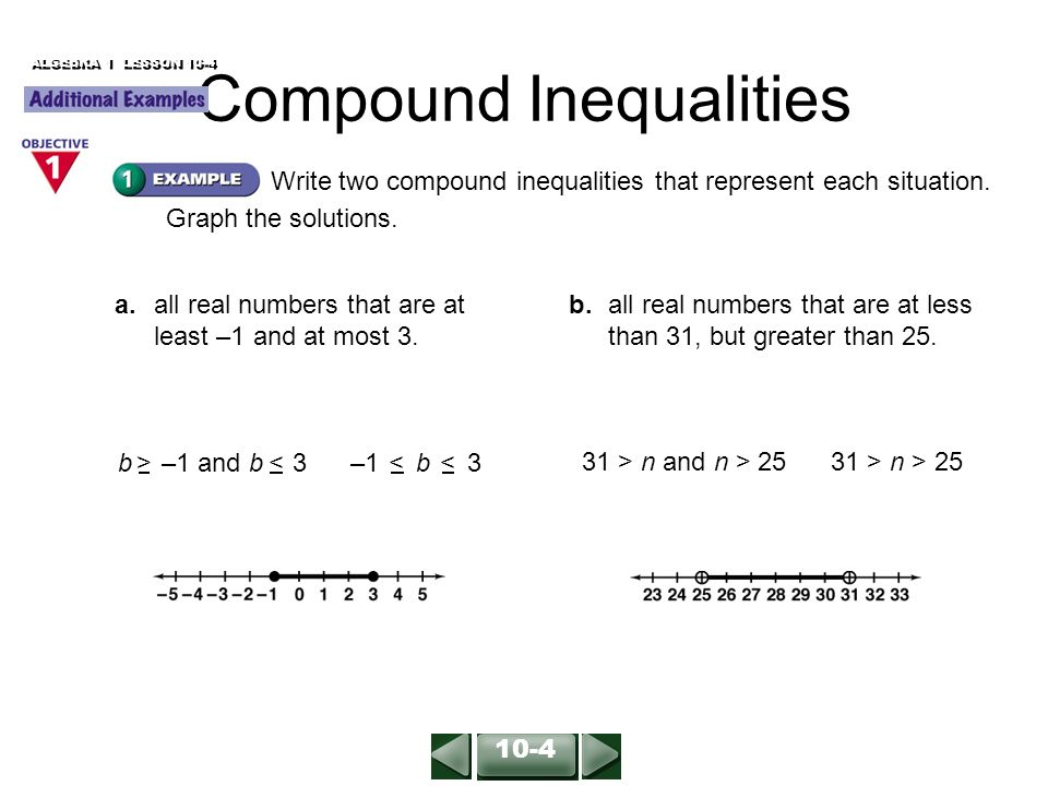 ALGEBRA 1 LESSON 10-4 Write two compound inequalities that represent each situation.
