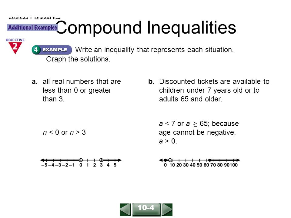 ALGEBRA 1 LESSON 10-4 Write an inequality that represents each situation.