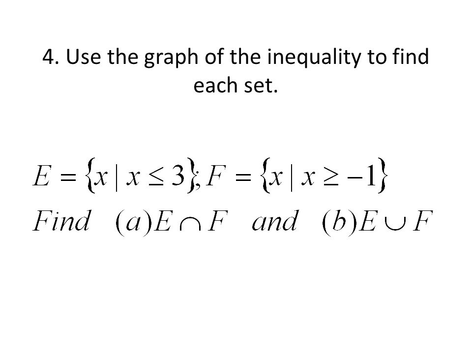 4. Use the graph of the inequality to find each set.
