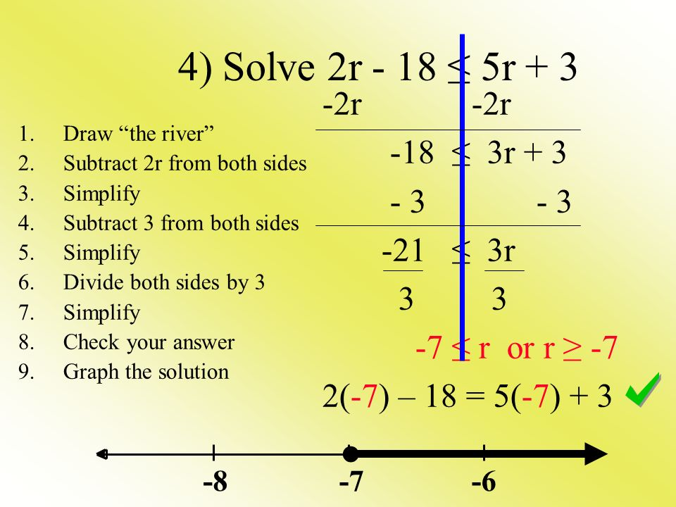 4) Solve 2r - 18 ≤ 5r r -18 ≤ 3r ≤ 3r ≤ r or r ≥ -7 2(-7) – 18 = 5(-7) Draw the river 2.Subtract 2r from both sides 3.Simplify 4.Subtract 3 from both sides 5.Simplify 6.Divide both sides by 3 7.Simplify 8.Check your answer 9.Graph the solution ●