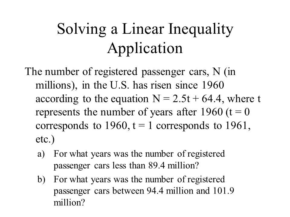 Solving a Linear Inequality Application The number of registered passenger cars, N (in millions), in the U.S.