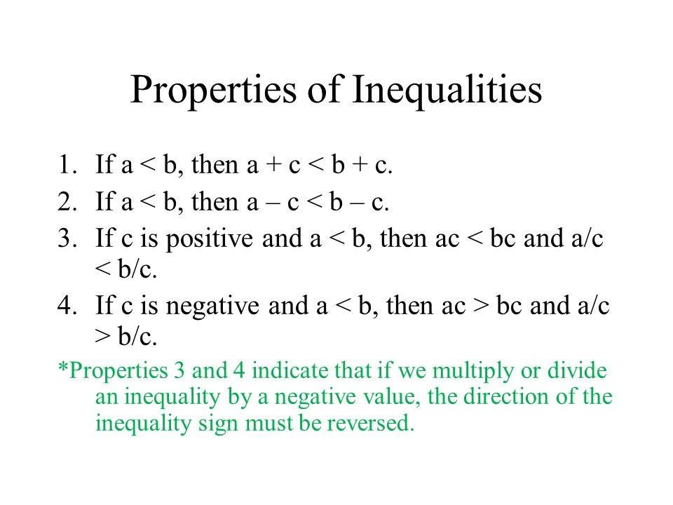 Properties of Inequalities 1.If a < b, then a + c < b + c.