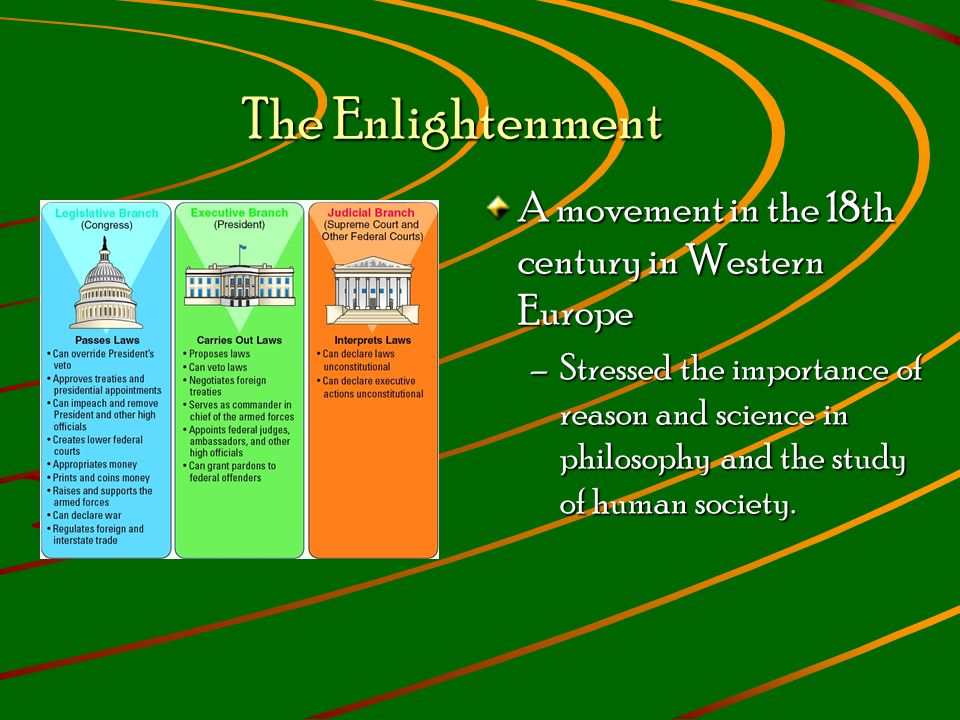 The Enlightenment The Enlightenment A movement in the 18th century in Western Europe –Stressed the importance of reason and science in philosophy and the study of human society.