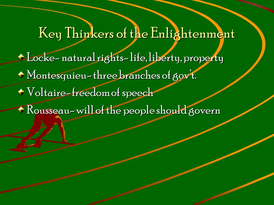Key Thinkers of the Enlightenment Locke- natural rights- life, liberty, property Montesquieu- three branches of gov't.