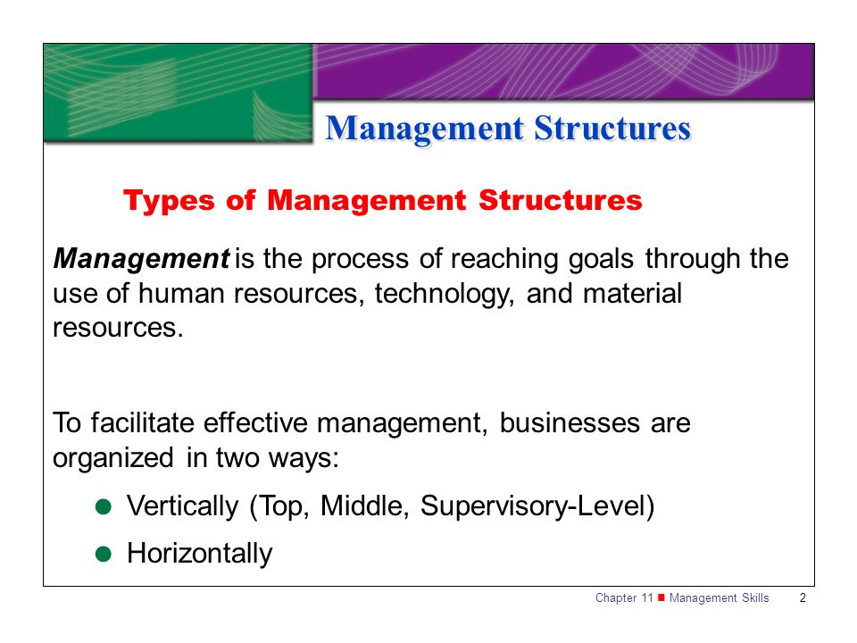 Chapter 11 Management Skills 13 Management Functions Organizing Organizing is a coordinated effort to reach a company s planning goals.