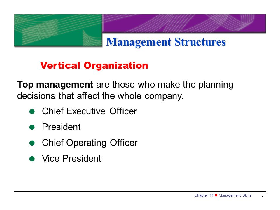 Chapter 11 Management Skills 4 Management Structures Vertical Organization Middle management implements the decisions of top management.