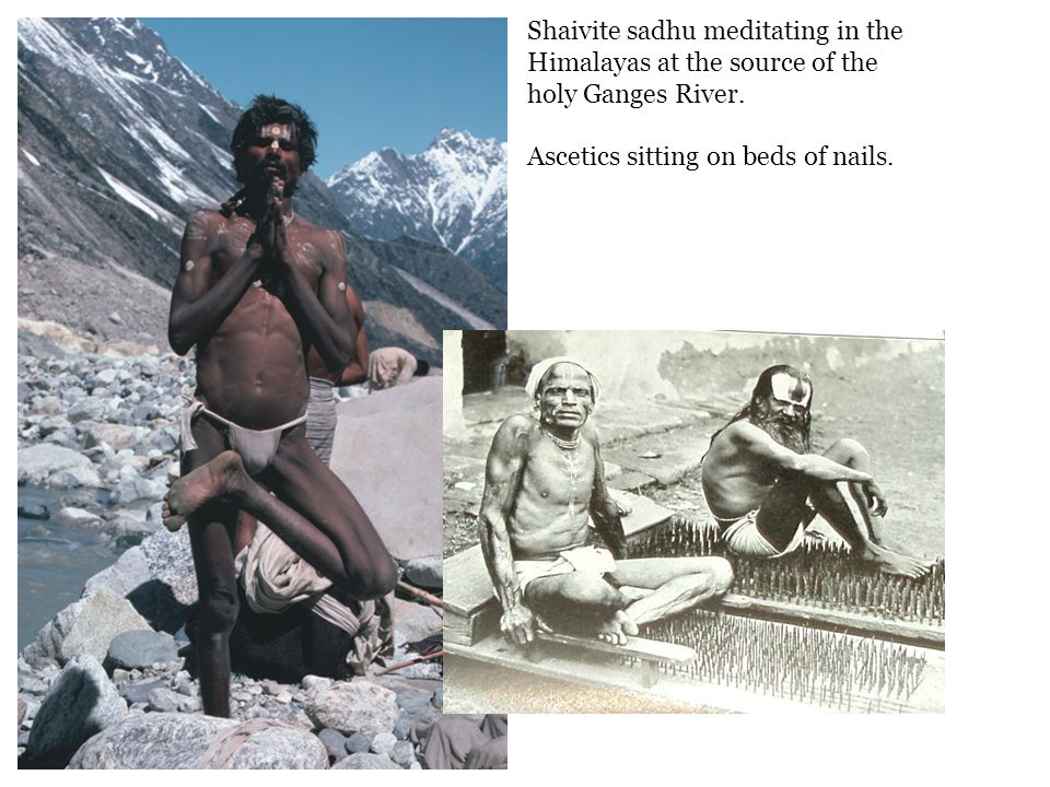 Shaivite sadhu meditating in the Himalayas at the source of the holy Ganges River.