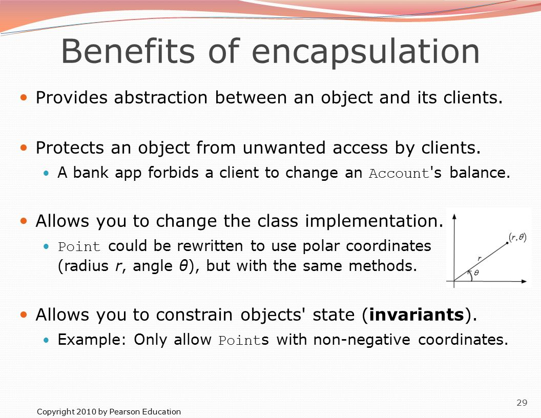 Copyright 2010 by Pearson Education 29 Benefits of encapsulation Provides abstraction between an object and its clients.
