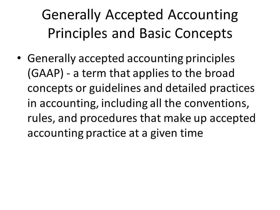 generally accepted accounting principles and disco For all accountants they must follow a set of generally accepted accounting principles for taxes and other financial information that is uniform across all business.