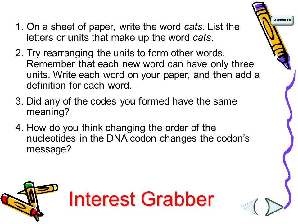 Chapter 12: DNA and RNA Section 12-1: DNA. Interest Grabber ...