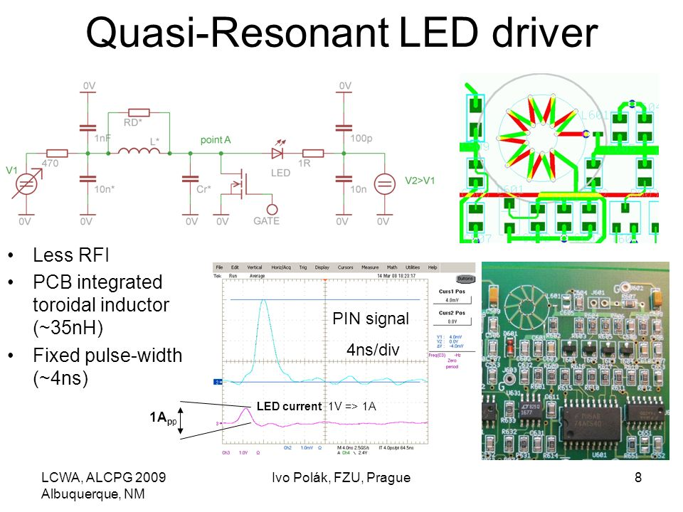 LCWA, ALCPG 2009 Albuquerque, NM Ivo Polák, FZU, Prague8 Quasi-Resonant LED driver Less RFI PCB integrated toroidal inductor (~35nH) Fixed pulse-width (~4ns) LED current 1V => 1A PIN signal 4ns/div 1A pp