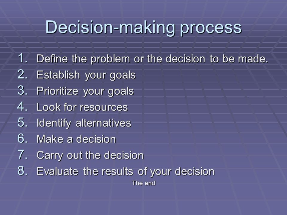Decision-making process 1. Define the problem or the decision to be made.