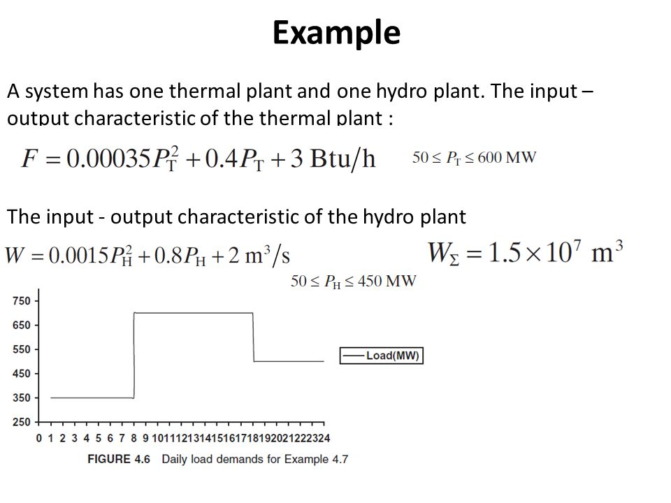 Example A system has one thermal plant and one hydro plant.