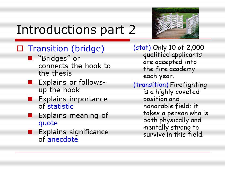 How to write a bridge in an essay define part