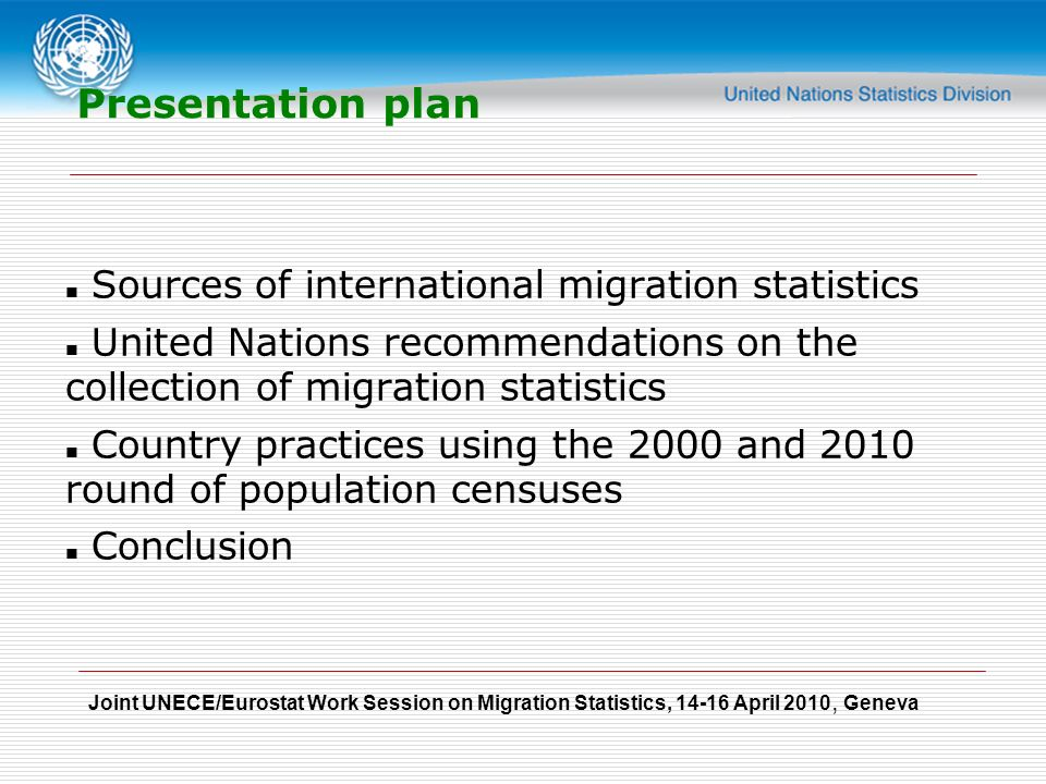 Joint UNECE/Eurostat Work Session on Migration Statistics, April 2010, Geneva Presentation plan Sources of international migration statistics United Nations recommendations on the collection of migration statistics Country practices using the 2000 and 2010 round of population censuses Conclusion