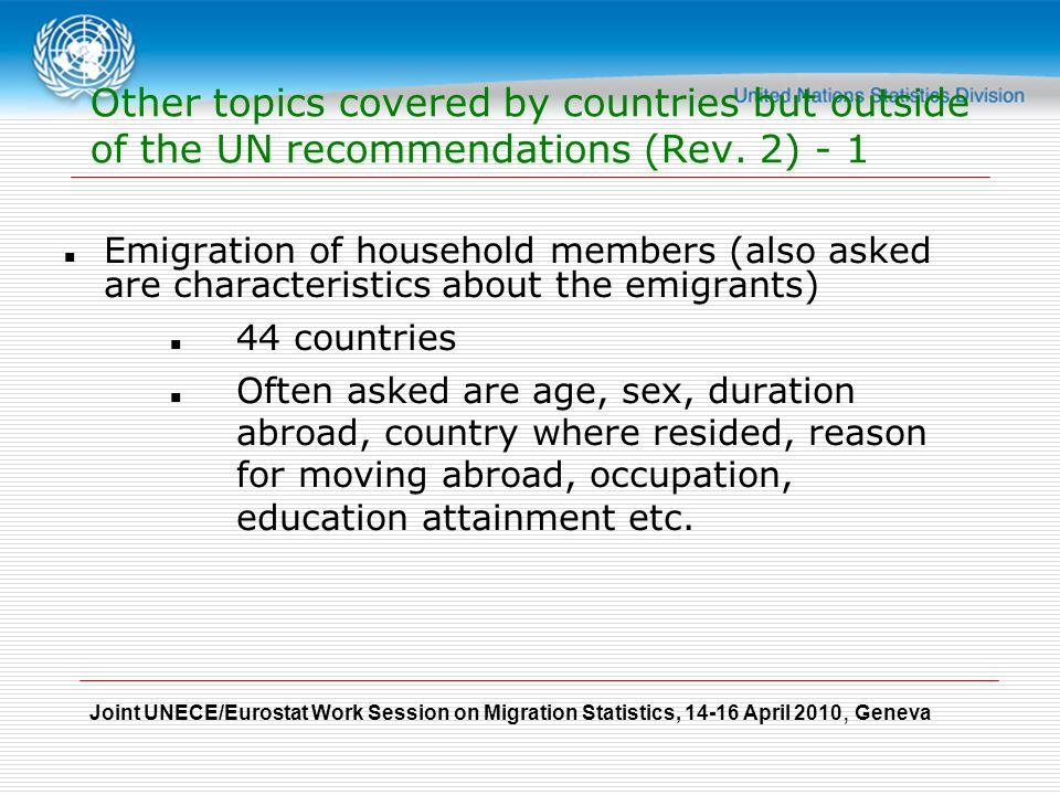 Joint UNECE/Eurostat Work Session on Migration Statistics, April 2010, Geneva Other topics covered by countries but outside of the UN recommendations (Rev.