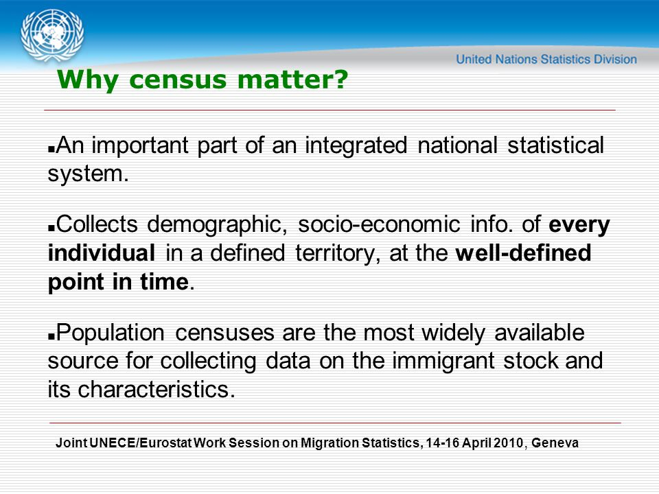 Joint UNECE/Eurostat Work Session on Migration Statistics, April 2010, Geneva Why census matter.