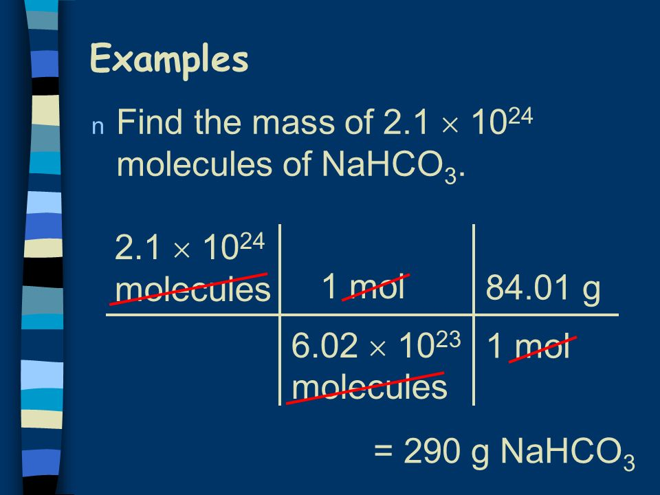 Example n How many moles of carbon are in 26 g of carbon 26 g C 1 mol C g C = 2.2 mol C