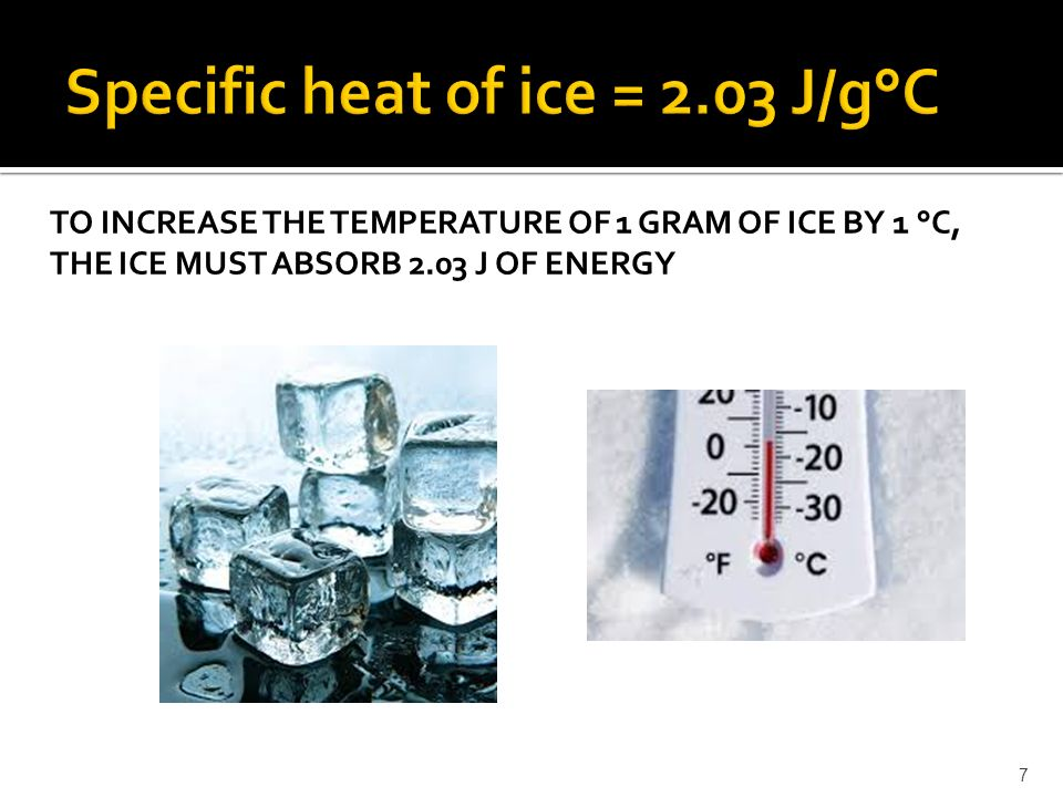 TO INCREASE THE TEMPERATURE OF 1 GRAM OF ICE BY 1 °C, THE ICE MUST ABSORB 2.03 J OF ENERGY 7