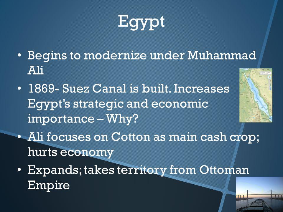 Begins to modernize under Muhammad Ali 1869- Suez Canal is built.