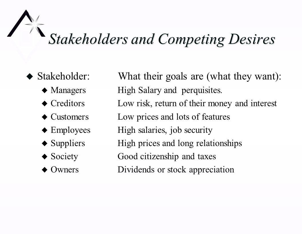 chapter 1 long term financial decisions u why are capital stakeholders and competing desires u stakeholder what their goals are what they want