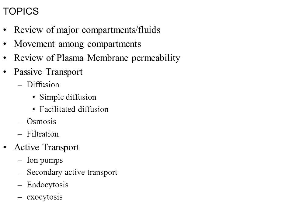topics review of major compartments fluids movement among  1 topics