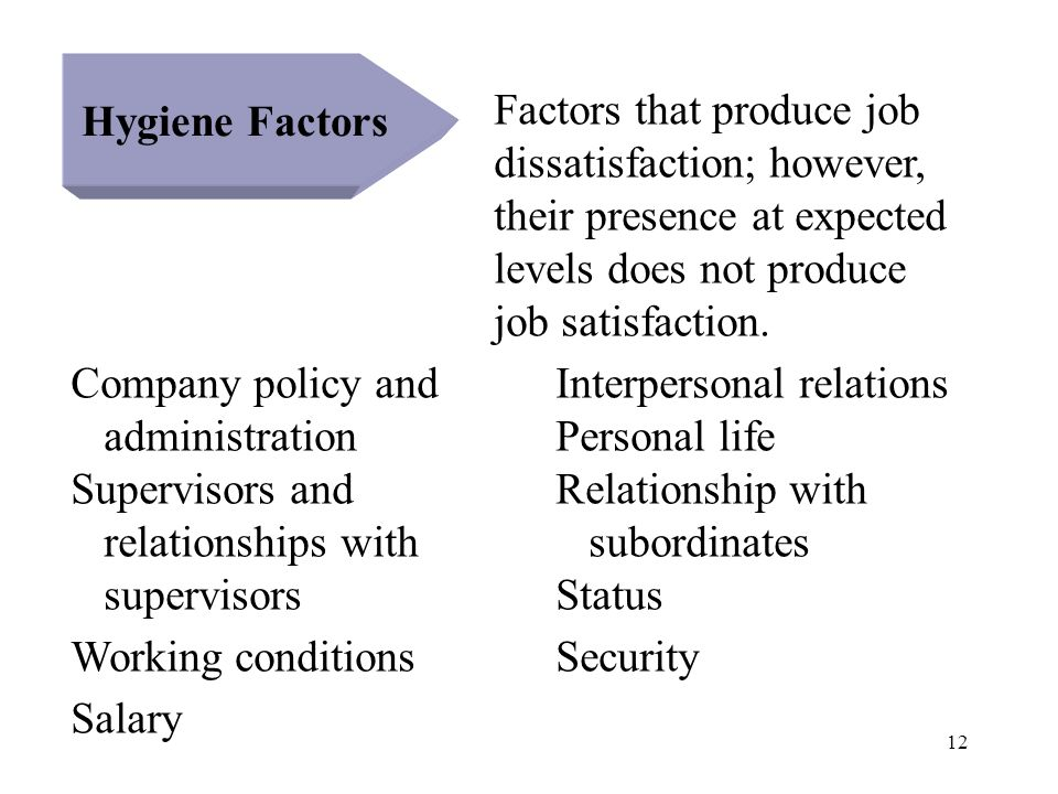 12 Hygiene Factors Factors that produce job dissatisfaction; however, their presence at expected levels does not produce job satisfaction. Company pol