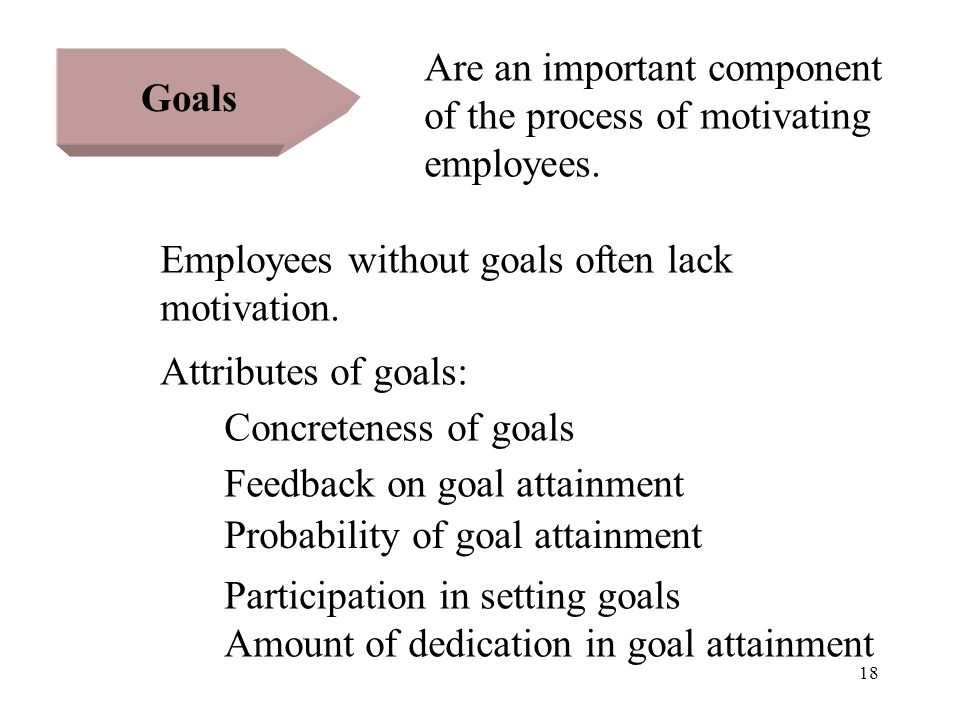 18 Goals Are an important component of the process of motivating employees. Employees without goals often lack motivation. Attributes of goals: Concre